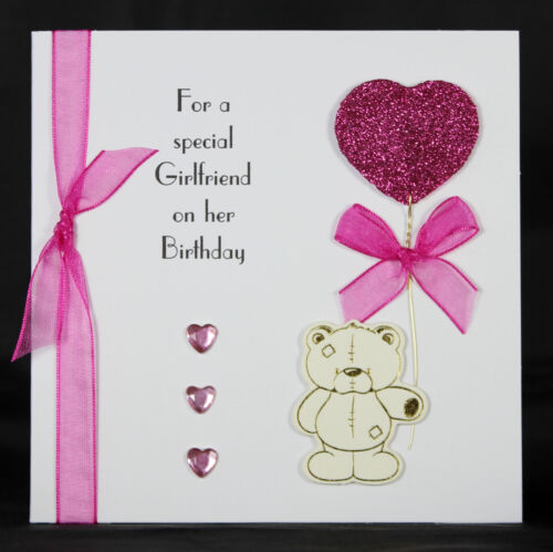 Personalised Handmade Birthday Card Ideal for Girlfriend Wife by Bijou Crafts