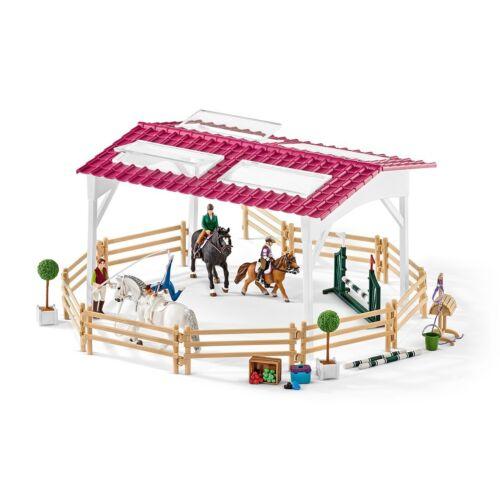 Schleich 42389-Reitschule avec cavaliers de l/'intérieur et chevaux