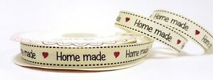 5m-Bertie-039-s-Bows-Ivory-034-Home-Made-034-Print-16mm-Grosgrain-Ribbon-Wrap-Label