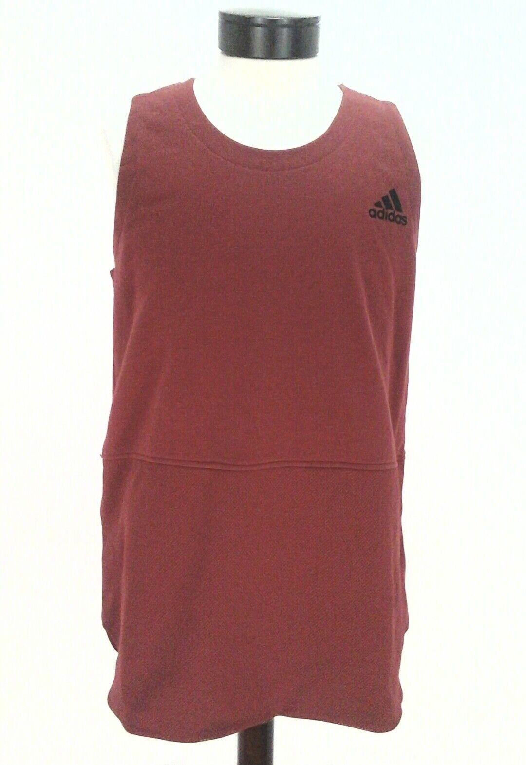 ADIDAS Tank Shirt Maroon Red BASKETBALL French Terry Active BQ1769 Mens XL
