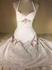 Vintage 90s Betsey Johnson White Floral Lace Halter Summer Dress Size 2