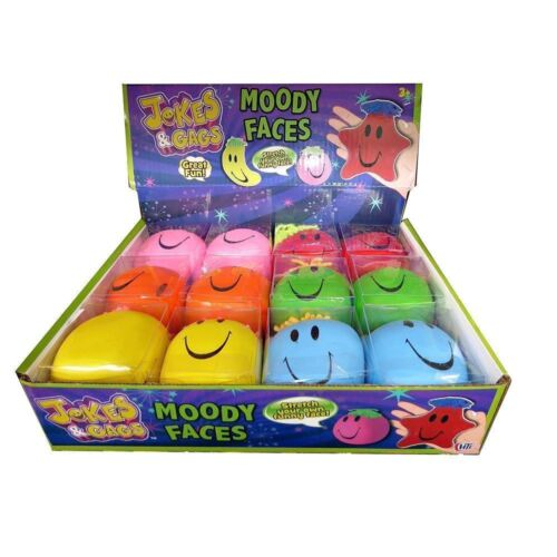 4 OR 6-6cm Moody Squeeze Stretchy Faces Stress Ball Novelty Party Goody Filler
