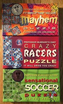 3 Professor Mcbrainy's Puzzle Pazzo Racers Sensazionale Calcio Meccanico Mayhem- Prima Qualità