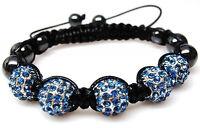 Blue Shamballa Beaded Crystal Rhinestone Hematite Hip Hop Bracelet
