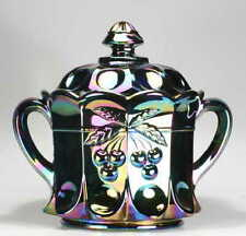 Purple Carnival Glass Cracker Biscuit Cookie Jar Cherry Cable Thumbprint Mosser
