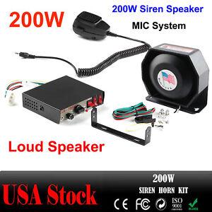 200W Speaker Car Warning Alarm 8Sound Loud  Fire Siren Horn PA MIC System NEW US