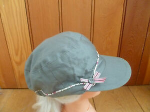 MONSOON ACCESSORIZE KHAKI GREEN FLOWER PIPING BOW PEAKED HAT CAP NEW