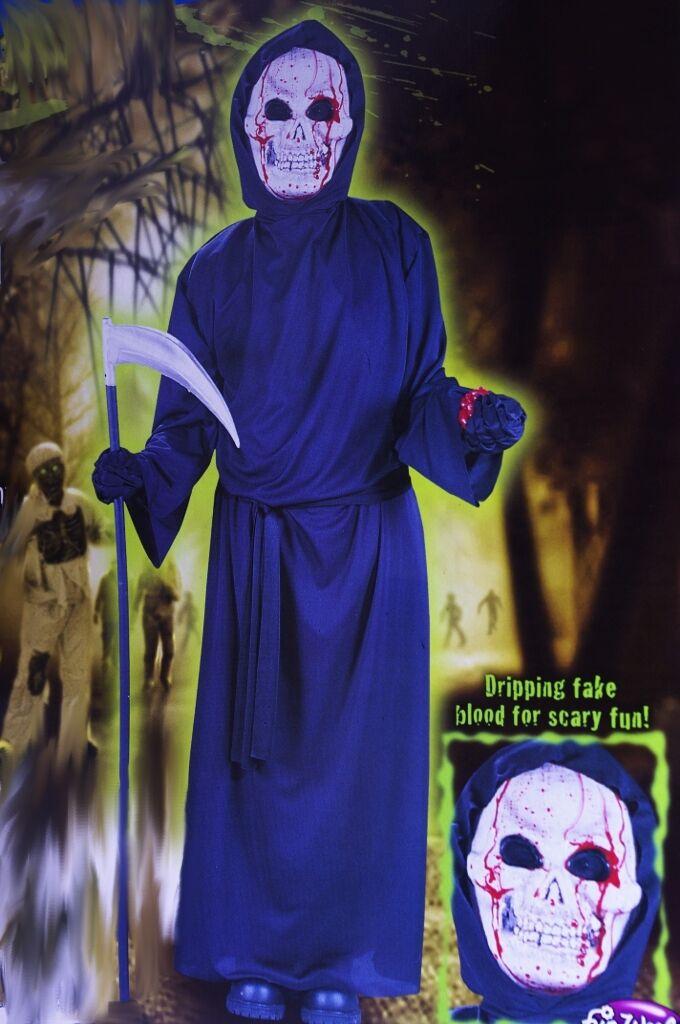 Boys Bleeding Skull Ghost Blood Face Halloween Costume Scary Bloody Medium 8 NEW