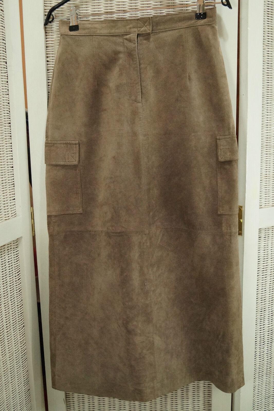 MARGARET GODFREY Vintage Suede Maxi Skirt 30  Waist Petite Bloomingdales Taupe