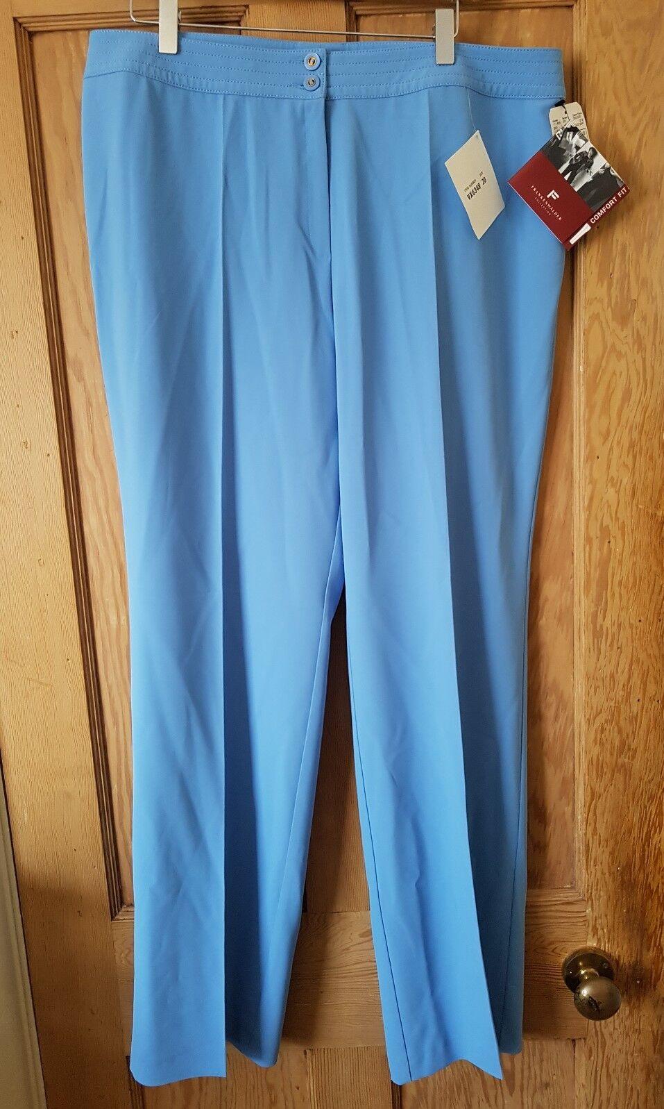 Frank Walder Women Sky bluee Trousers Straight Leg Size 20 BNWT