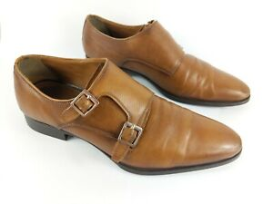 ZARA-HOMME-en-CUIR-Marron-clair-Monkstrap-Chaussures-UK-9-EU-43