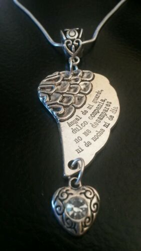 Sterling silver necklace large guardian angel charm with Spanish prayer gift box
