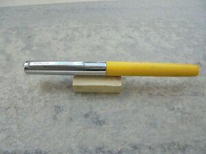 Fountain Pen (estilografica) Waterman Modelo School Amarilla Y Acero AÑos 70 Paquet éLéGant Et Robuste