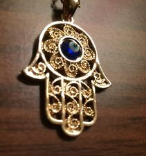Hamsa Hand Fatima Blue Evil Eye Kabbalah Gold Chain Pendant Chain Necklace Nazar