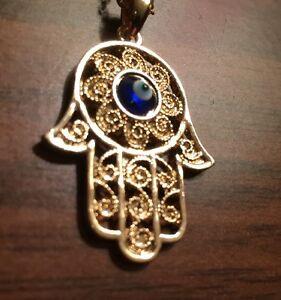 Hamsa hand fatima blue evil eye kabbalah gold chain pendant chain image is loading hamsa hand fatima blue evil eye kabbalah gold mozeypictures Images