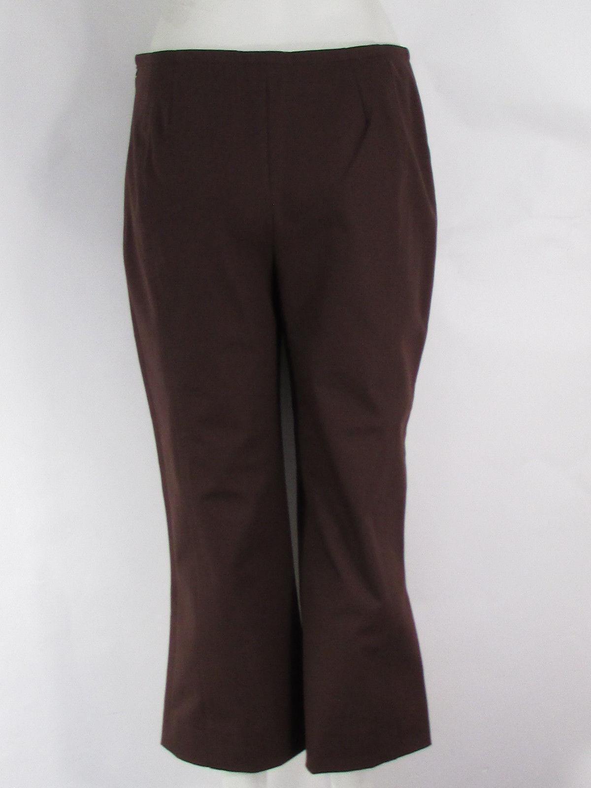 Escada damen braun Cotton Blend Fashion Cropped Pants Capris Wide Legs Größe 36 2