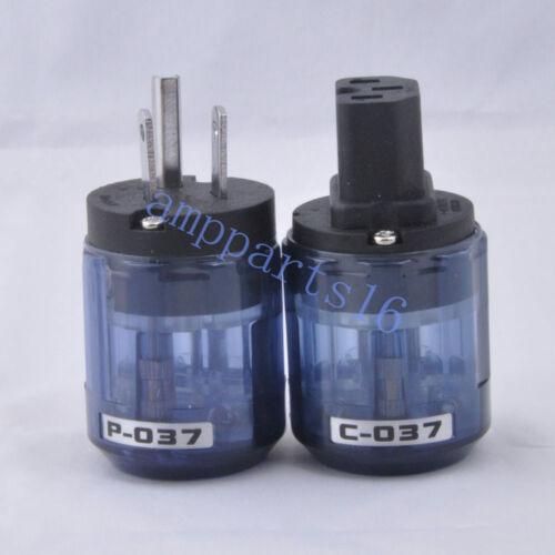 2pc Audio AMP US AC Power Plug IEC Connector Rhodium Plate Transparent Blue C037