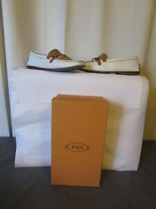 Tod's Bianco pelle mocassini 39 cammello Taglia qw1q58