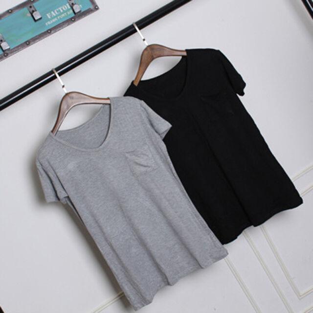 New Women V-Neck Short-sleeved Loose Cotton Trend T-shirt Blouse Tops