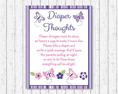 Pink Woodland Owl Diaper Thoughts Late Night Diaper Baby Shower Game