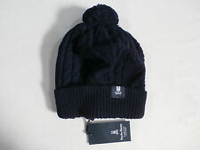 Psycho Bunny Men's Aran Chunky Cable Knit Hat Navy One Size NWT $75