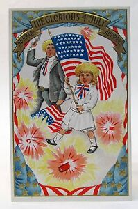 pre 1907 KIDS WAVING FLAGS Hurrah Glorious Fourth of July embossed postcard
