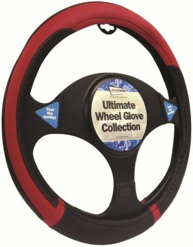 Hyundai i10 Black & Red Steering Wheel Cover Glove 37cm