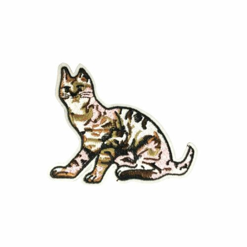 Embroidery Applique Patch Sew Iron Badge Iron On Brown Striped Cat