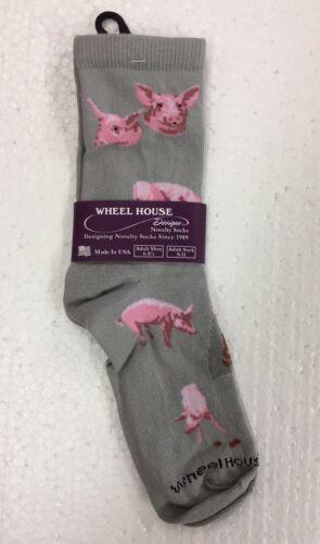 Wheel House Designs Pigs Farm Novelty Crew Adult Pig Socks Gray New