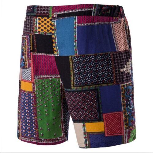 Men Shorts Pants Splice Patchwork Trousers Vintage Hippie Beach Bohemian