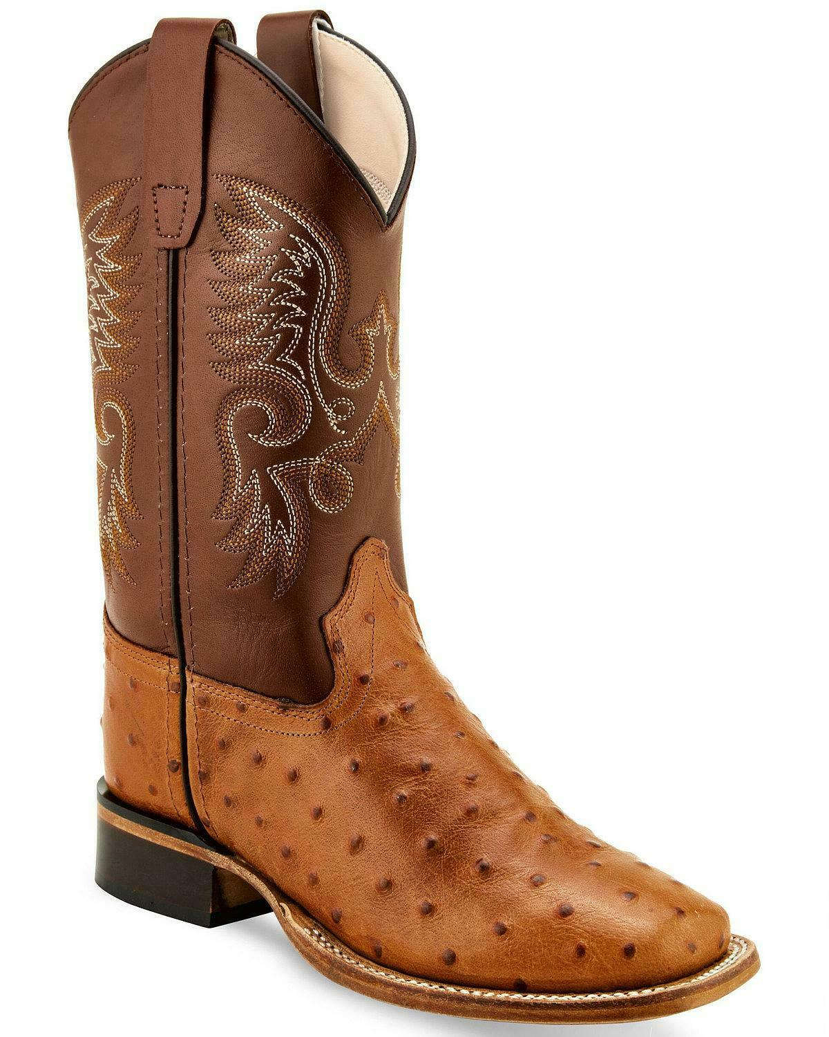 Wide Square Toe Old West Boys/' Ostrich Print Western Boot BSC1834