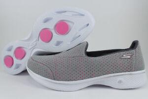 SKECHERS GOWALK GO WALK 4 EMPOWER GRAY/PINK BREAST CANCER SLIP-ON LOAFERS WOMENS