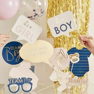 GOLD-FOILED-GENDER-REVEAL-PARTY-PHOTO-BOOTH-PROPS-Baby-Shower-Boy-or-Girl