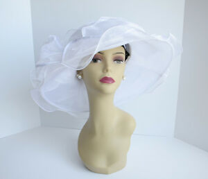 NEW Church Derby Wedding Organza w Jumbo Ascot Dress hat White C-VF1838