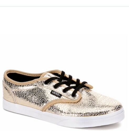 Gold New Vans deporte 33 Atwood de Tamaño Eur 2 Reino Zapatillas Girls Leather Unido Cracked x8qT4x