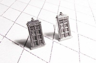 Little Police Box Stud Earrings, inspired by Doctor Who and the TARDIS