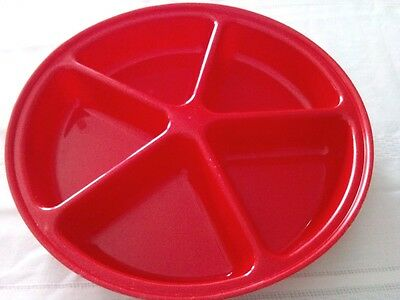 Vtg 5 Compartment Red 80's Plastic Vegetable/Snack Serving Party Tray Never Used