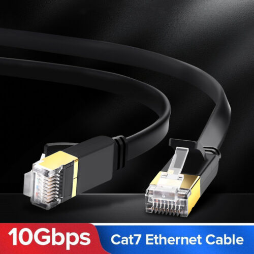Flat CAT7 Ethernet Cable RJ45 Network LAN Cord 10Gbps Patch Wire For Laptop New