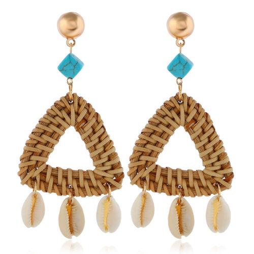 Fashion Women Round paille Rotin Tissé Boucles d/'oreilles Stud Dangle Bijoux Cadeaux