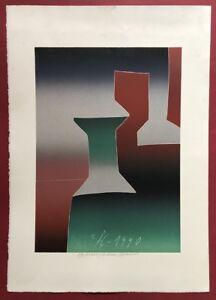 Franz eggenschwiler, spinnfadenspulen, farblinoldruck, 1990, firmato a mano