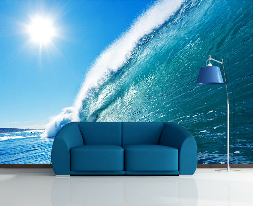 3D Wave Sun Sea 5 Wallpaper Murals Wall Print Wallpaper Mural AJ WALL AU Lemon