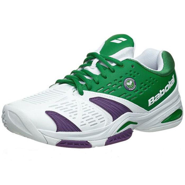 Babolat SFX All Court Wimbledon Uomo Tennis Shoes White Green Size 7.5 NEW