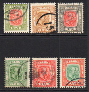 Iceland 6 Stamps c1907 Used (7406)
