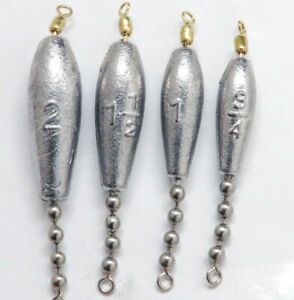 Details about Hybrid Trolling Sinkers 75 lb test 1 #10 Ball Chain 1 Swivel  3/4,1,1 1/2 or 2 oz