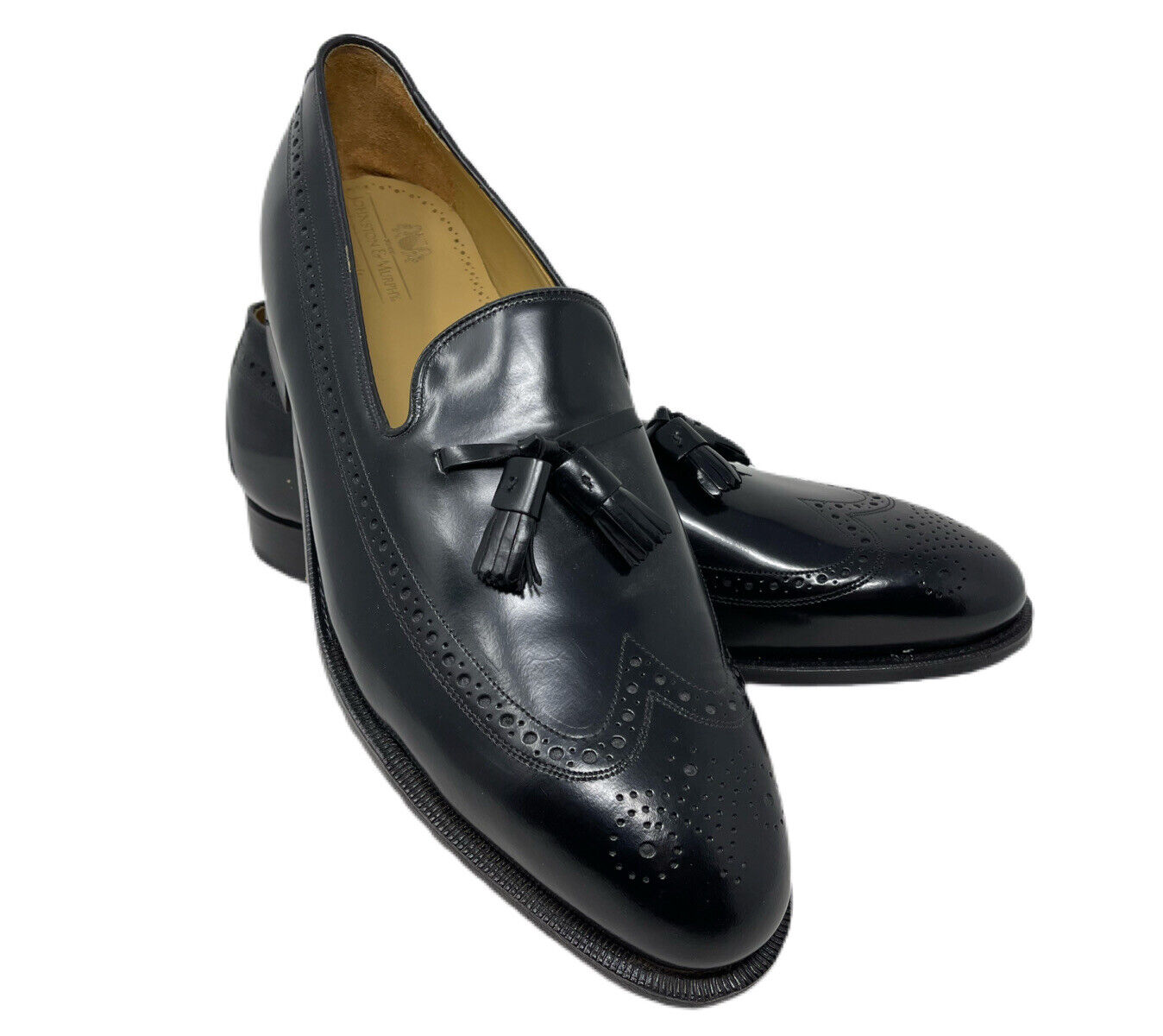 New Johnston & Murphy Aristocraft Mens Black Leather Tassel Loafers Shoes 14 D