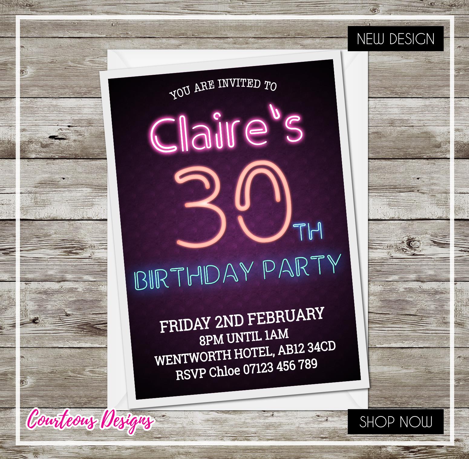 Personalised Party Invites O Birthday Invitations O18th 21st 30th 50th 40th 60th Fc7ffa