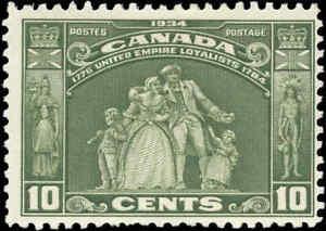 Canada Mint H F+ 10c Scott #209 1934 Loyalists Issue Stamp