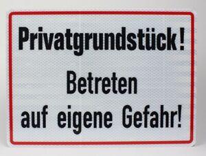 Betreten auf eigene Gefahr! gelb//schwarz 250x150 mm Warnschild Privatgrundst/ück 1 St/ück