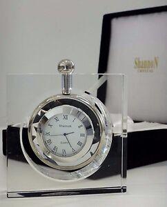 Belle-montre-pendulette-horloge-cristal-Shannon-crystal-Ireland-clock-Godinger