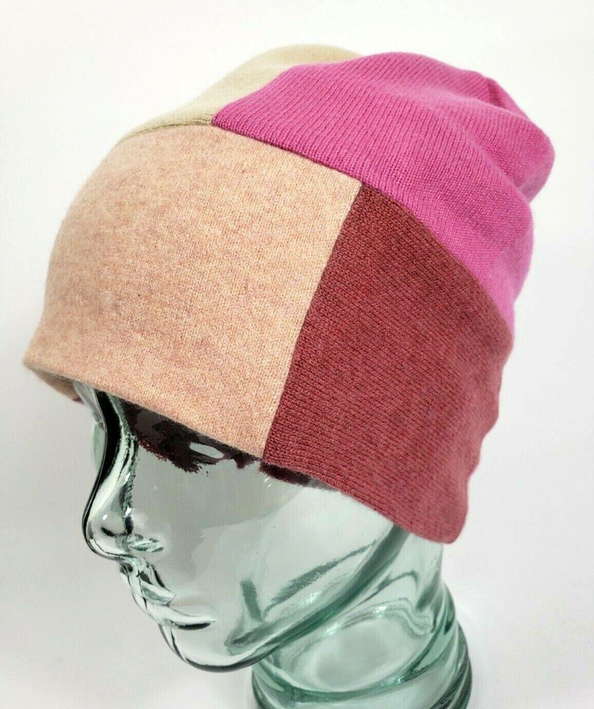 # 100% Pure Cashmere Sombrero Gorro Unisex Grueso Doble Rosa Hecho a Mano Regalo A65